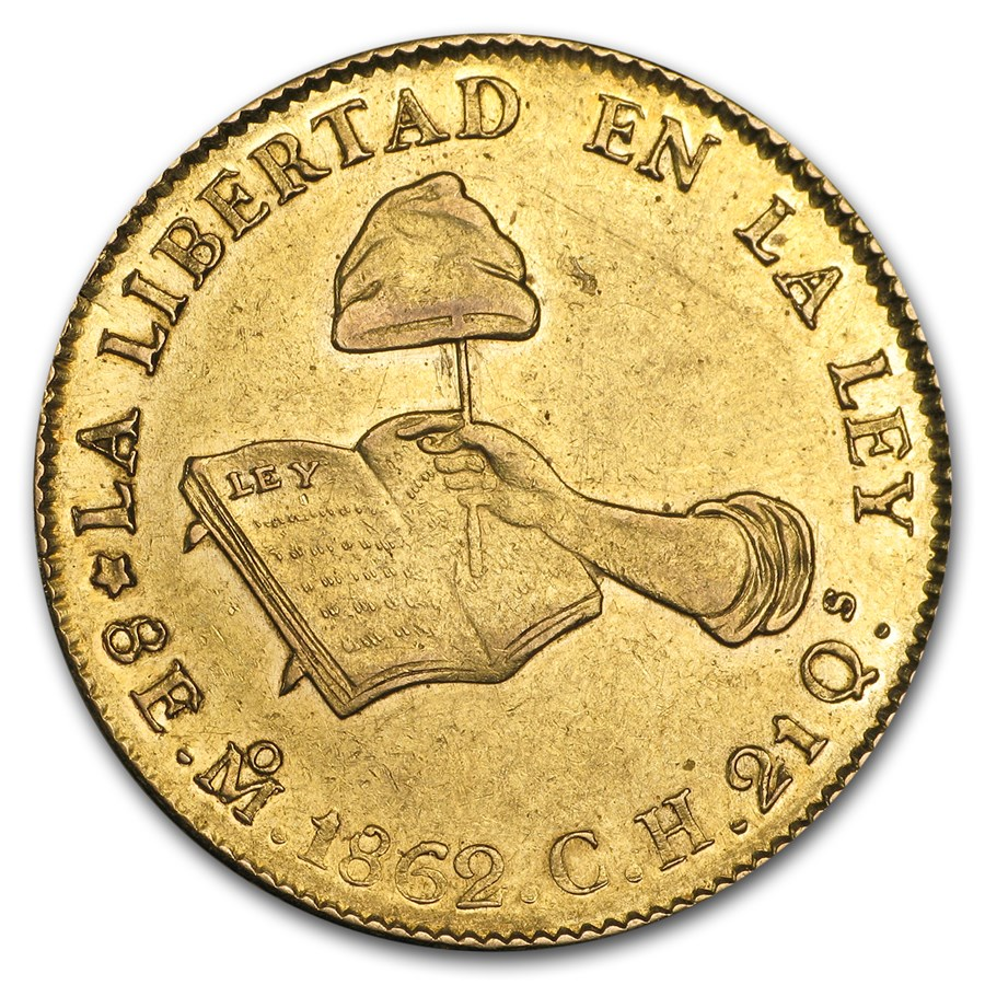 1832-1870 Mexico First Republic Gold 8 Escudos (Cleaned, Random)