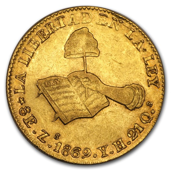 1832-1870 Mexico First Republic Gold 8 Escudos XF (Random)