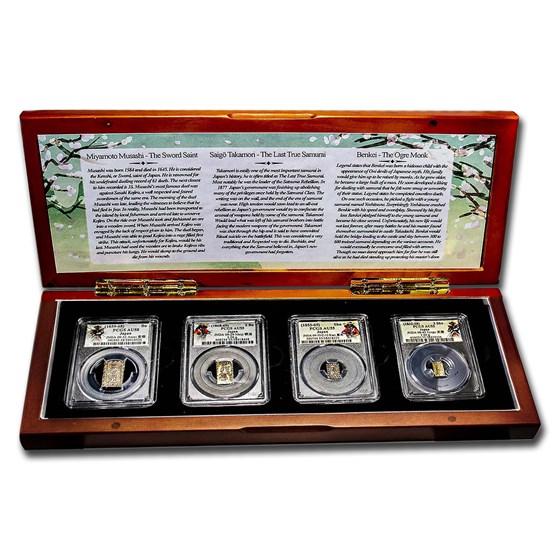(1832-69) Japan 4-Coin Money of the Samurai AU 55-58 PCGS