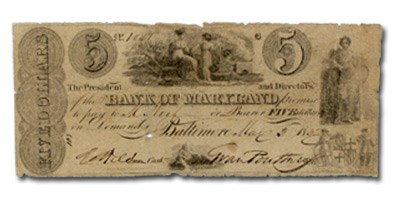 1832 Bank of Maryland @ Baltimore, MD $5.00 MD-95 VG