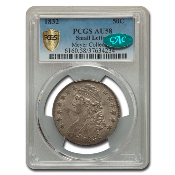 1832 Capped Bust Half Dollar AU-58 PCGS CAC (Small Letters)