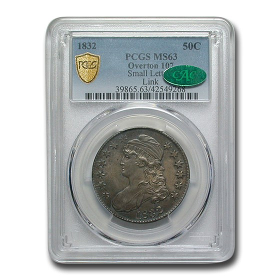 1832 Capped Bust Half Dollar MS-63 PCGS CAC (O-107, Small Letter)