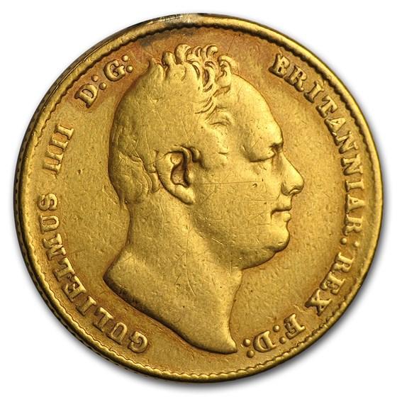 1832 Great Britain Gold Sovereign William IV Fine Details