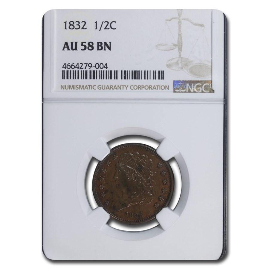 1832 Half Cent AU-58 NGC (Brown)