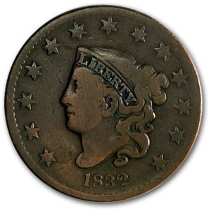 1832 Large Cent Medium Letters VG