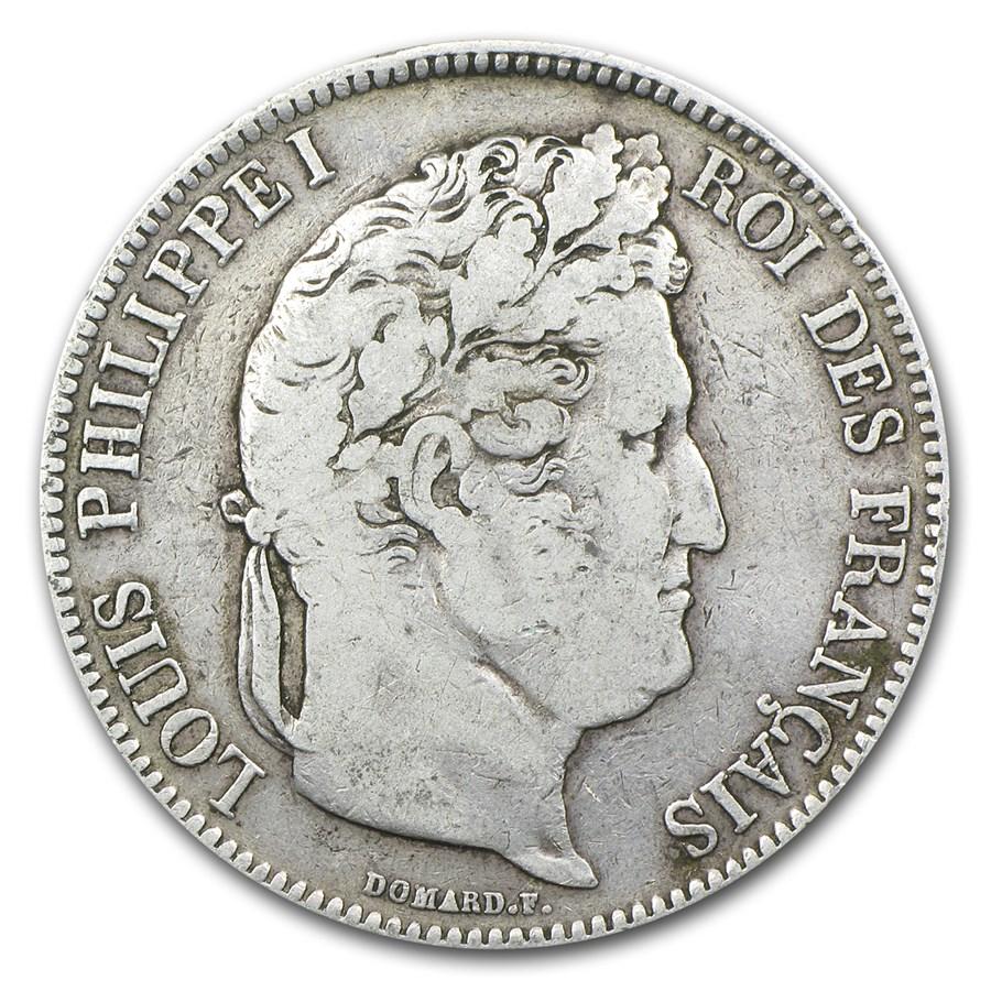 1832-Q France Silver 5 Francs VF Details