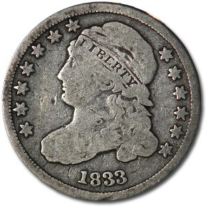 1833 Capped Bust Dime Fine