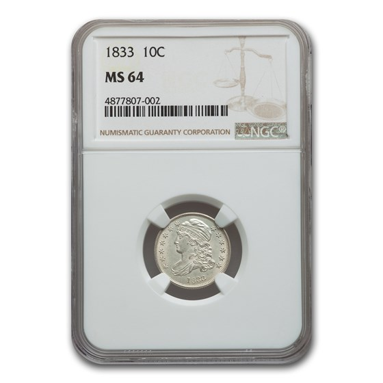1833 Capped Bust Dime MS-64 NGC