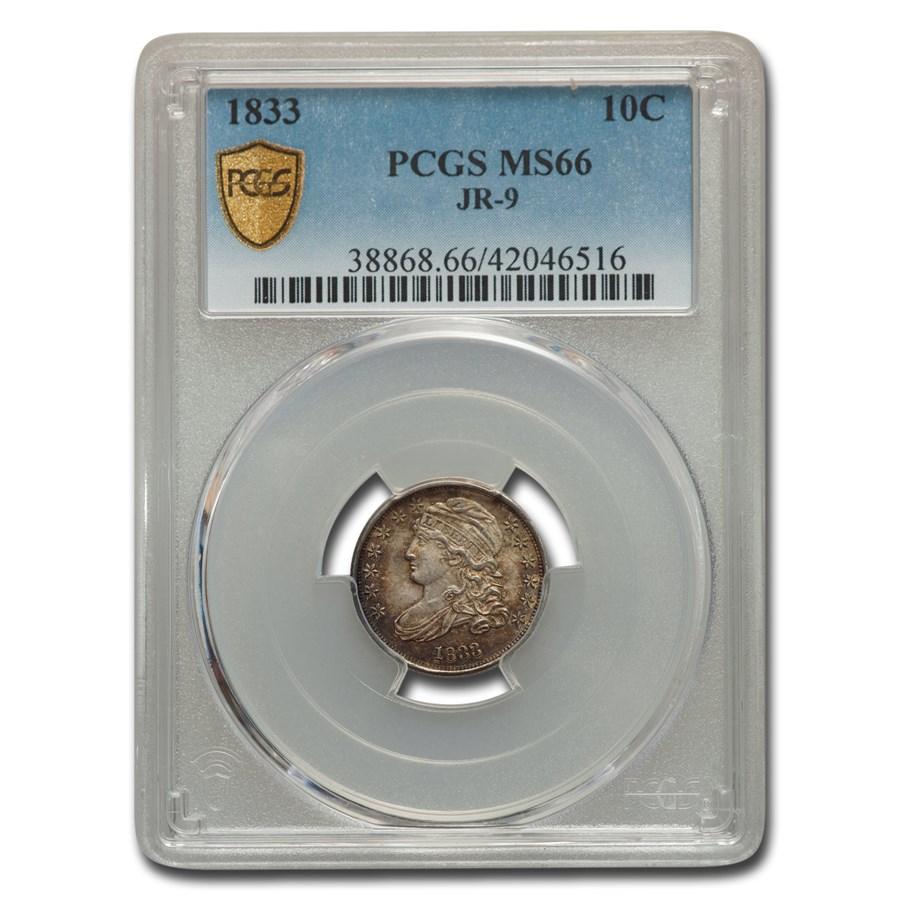 1833 Capped Bust Dime MS-66 PCGS (JR-9)