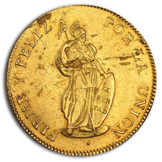 1833-MM North Peru Gold 8 Escudos XF