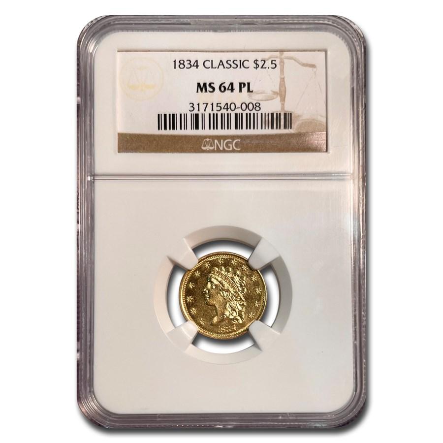 1834 $2.50 Classic Head Gold Quarter Eagle MS-64 NGC (PL)