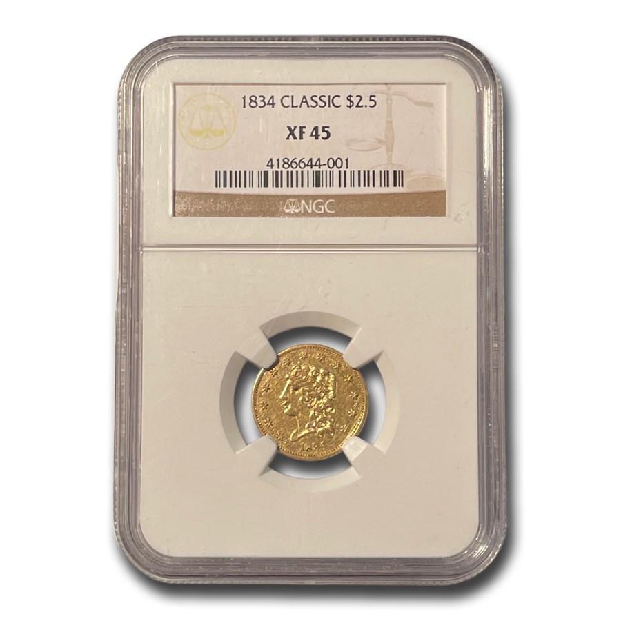 1834 $2.50 Classic Head Gold Quarter Eagle XF-45 NGC