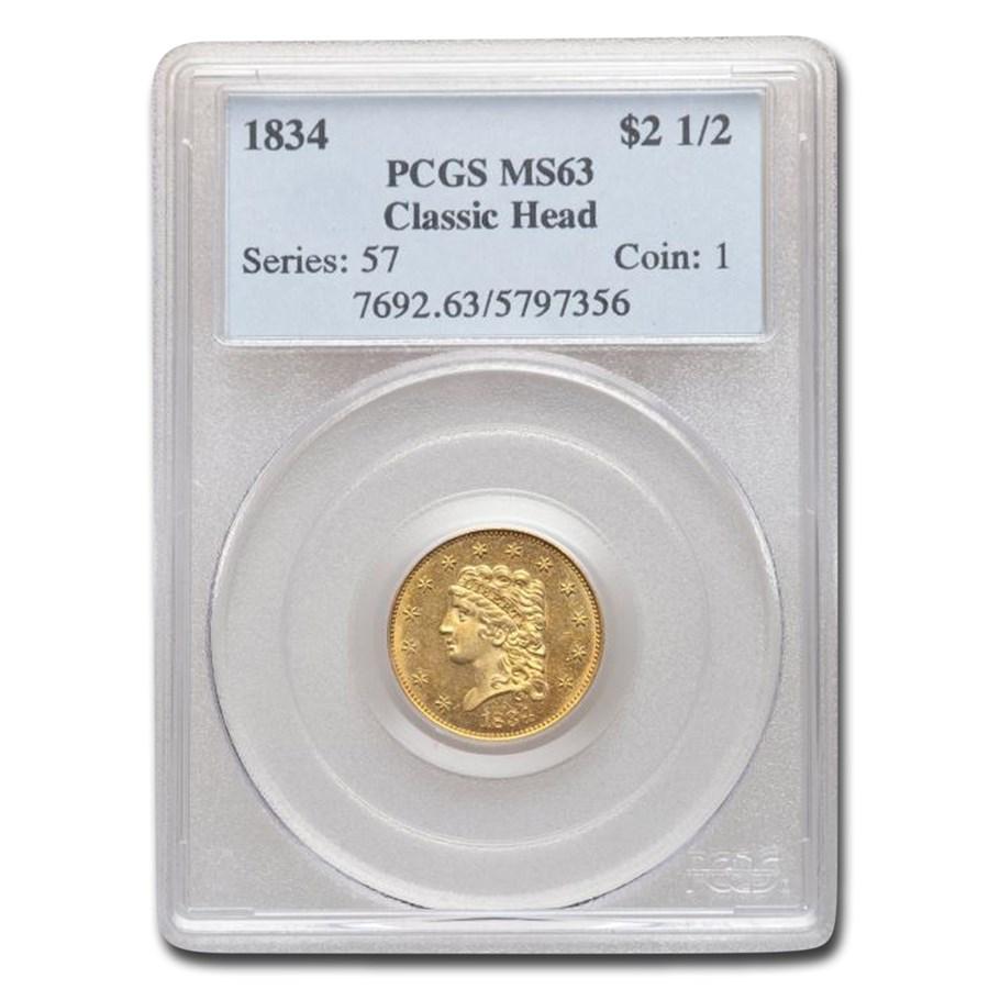 1834 $2.50 Classic Head Quarter Eagle MS-63 PCGS