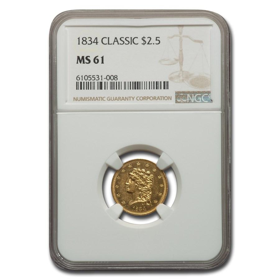 1834 $2.50 Gold Classic Head Quarter Eagle MS-61 NGC