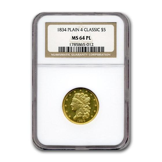 1834 $5 Classic Head Gold Half Eagle MS-64 NGC (PL, Plain 4)