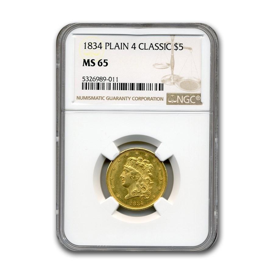 1834 $5 Classic Head Gold Half Eagle MS-65 NGC (Plain 4)