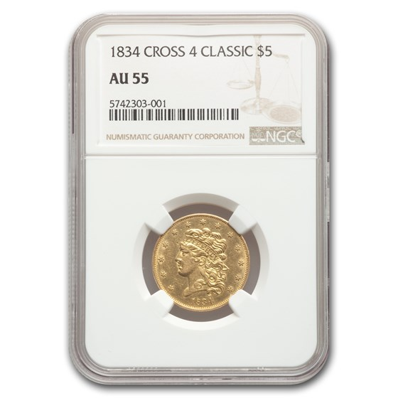1834 $5 Classic Head Half Eagle AU-55 NGC (Crosslet 4)