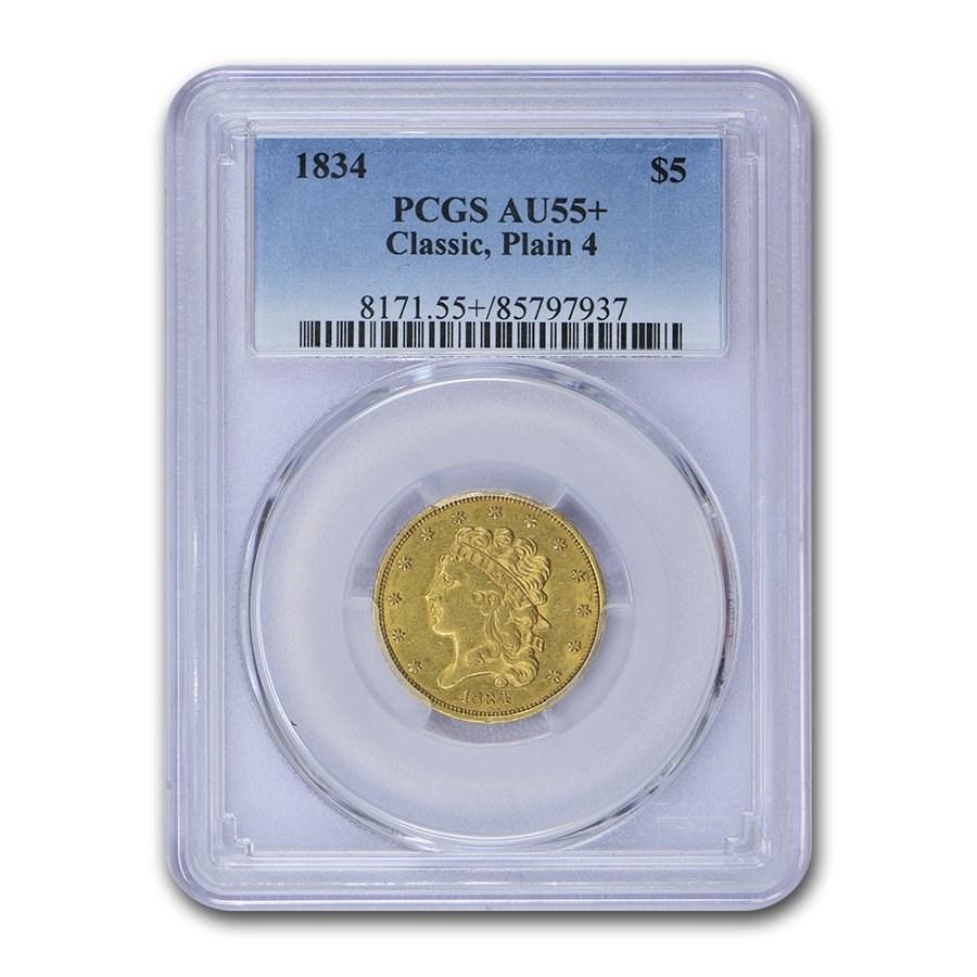 1834 $5 Gold Classic Head Half Eagle AU-55+ PCGS (Plain 4)
