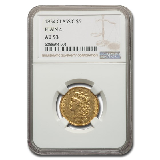 1834 $5 Gold Classic Head Half Eagle Plain 4 AU-53 NGC
