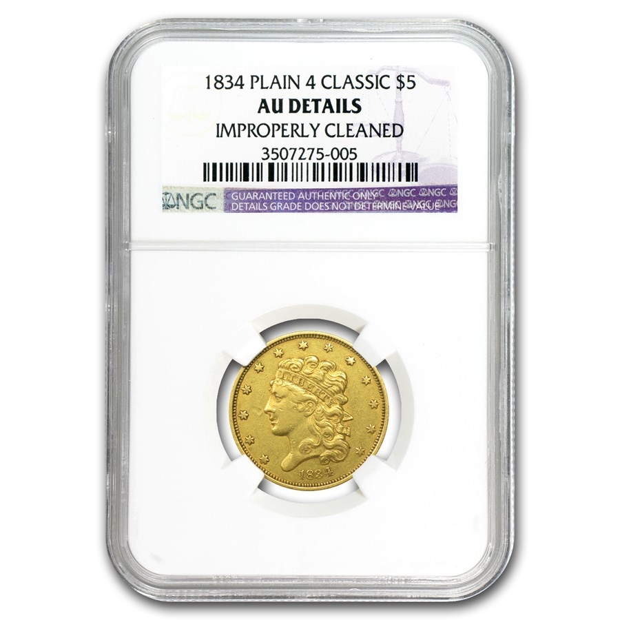 1834 $5 Gold Classic Head Half Eagle Plain 4 AU Details NGC