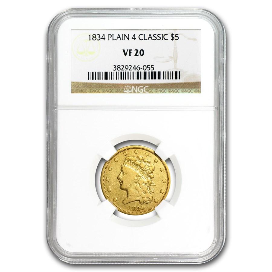 1834 $5 Gold Classic Head Half Eagle Plain 4 VF-20 NGC
