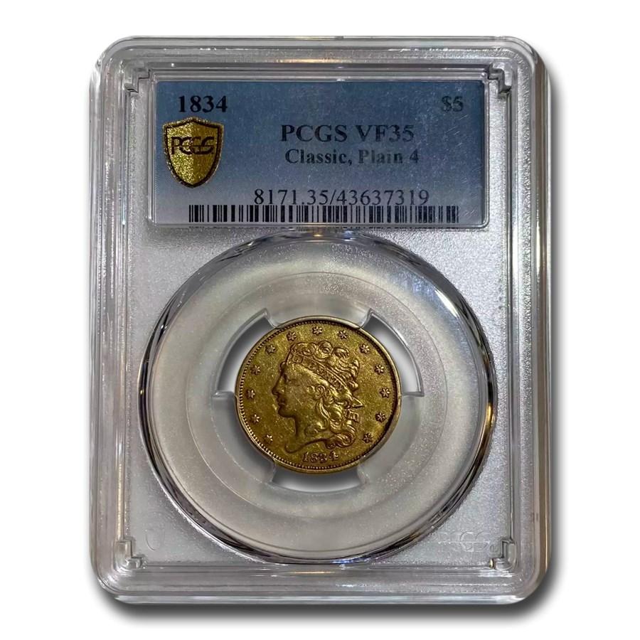 1834 $5 Gold Classic Head Half Eagle Plain 4 VF-35 PCGS