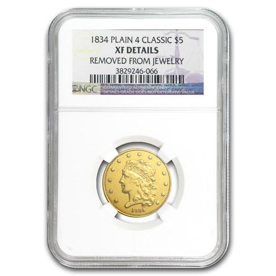 1834 $5 Gold Classic Head Half Eagle Plain 4 XF Details NGC