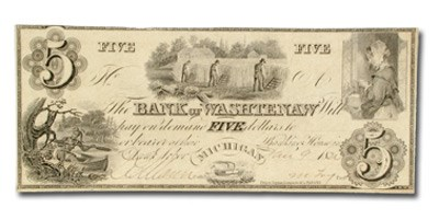 1834 Bank of Washtenaw, MI $5 MI-50, AU