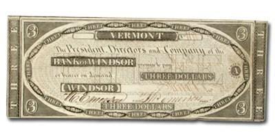 1834 Bank of Windsor, VT $3.00 Note VT-280 Ch AU