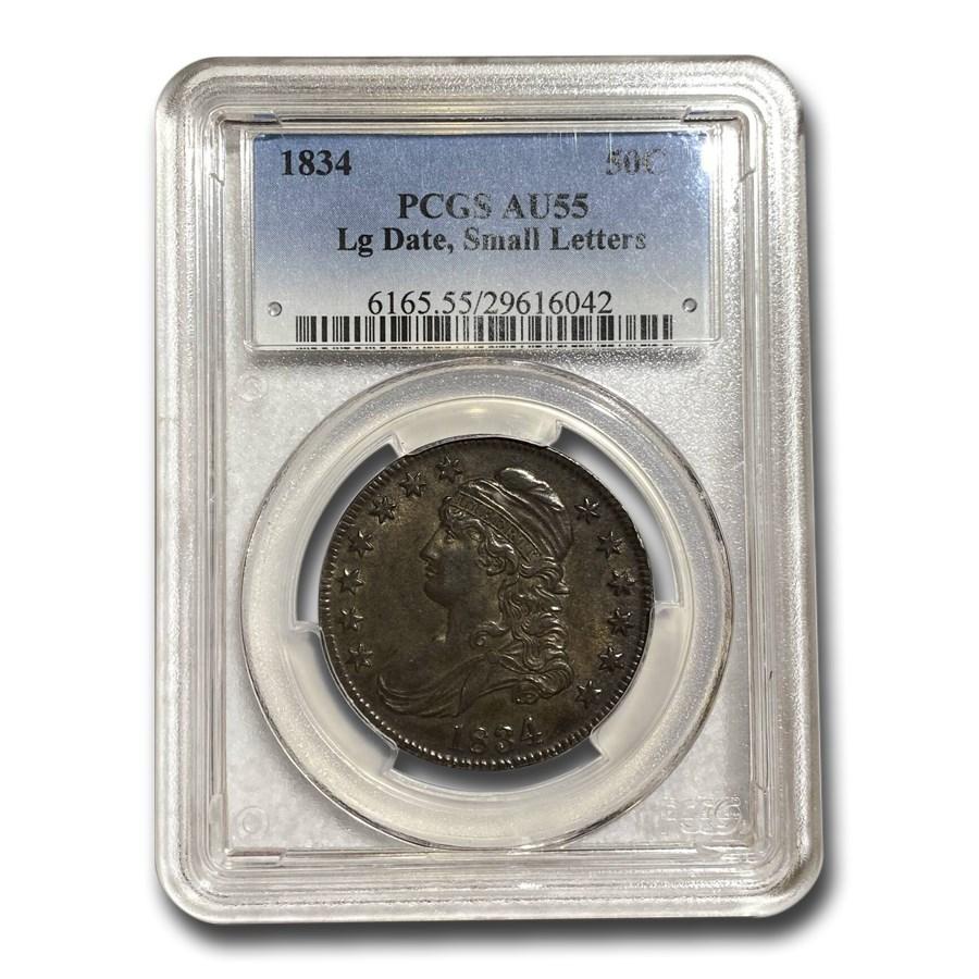 1834 Bust Half AU-55 PCGS (Lg Date, Sm Letters)