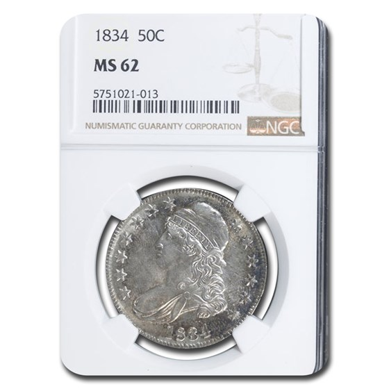 1834 Bust Half Dollar MS-62 NGC (Lg Date, Lg Letters)
