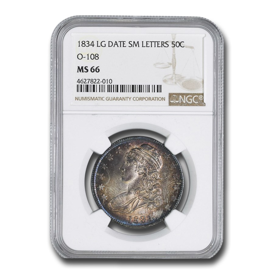 1834 Bust Half Dollar MS-66 NGC (Lg Date, Lg Letters)