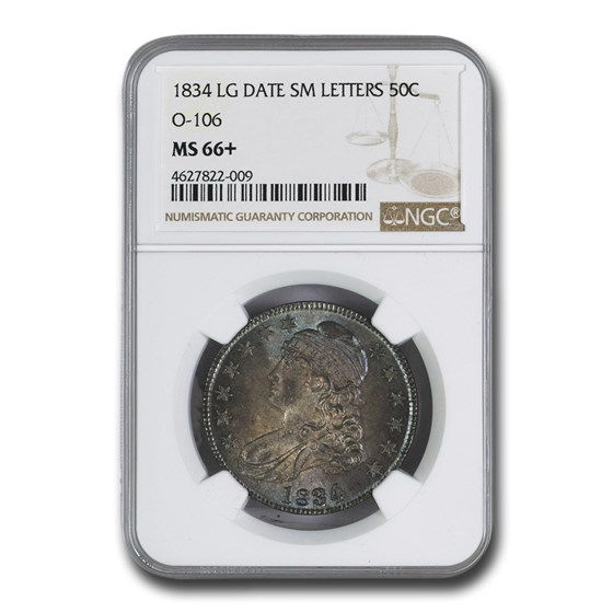 1834 Bust Half Dollar MS-66+ NGC (Lg Date, Sm Letters)