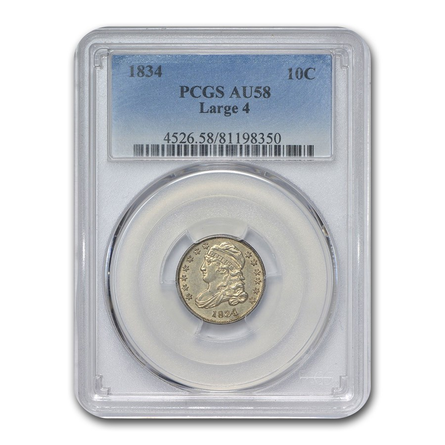 1834 Capped Bust Dime AU-58 PCGS (Large 4)