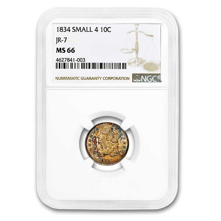 1834 Capped Bust Dime MS-66 NGC (Small 4, JR-7)