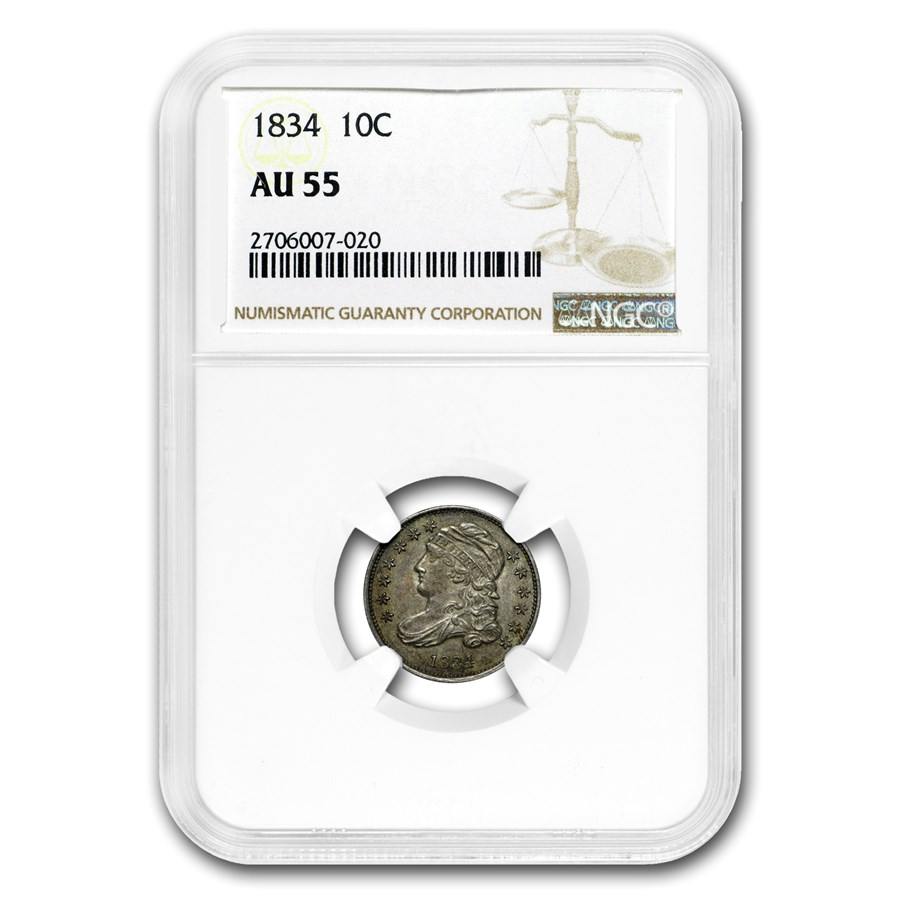 1834 Capped Bust Dime AU-55 NGC