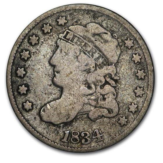 1834 Capped Bust Half Dime Fine