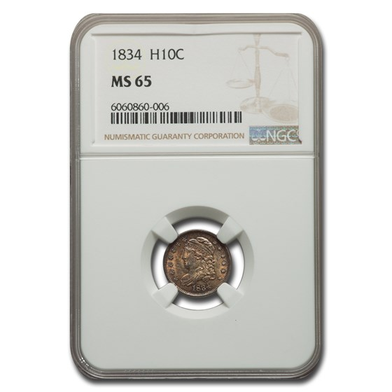 1834 Capped Bust Half Dime MS-65 NGC