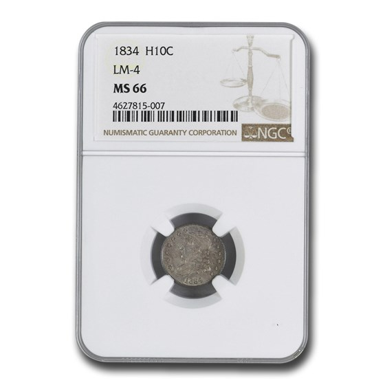 1834 Capped Bust Half Dime MS-66 NGC (LM-4)