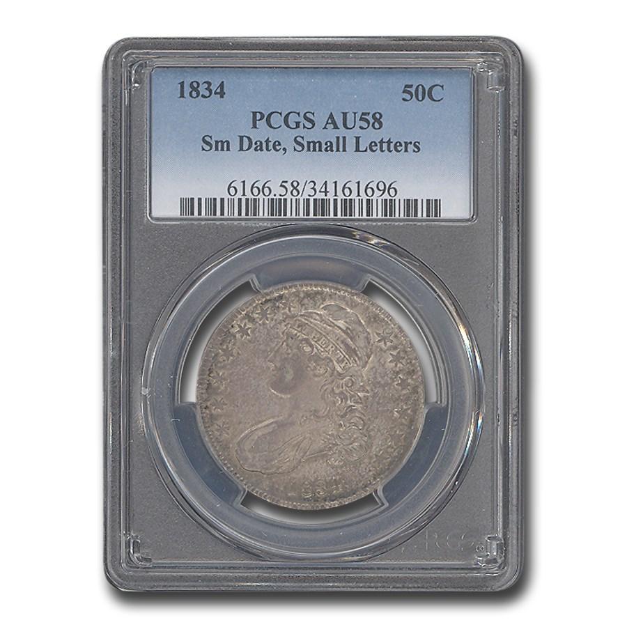 1834 Capped Bust Half Dollar AU-58 PCGS (Sm. Date, Sm Letters)
