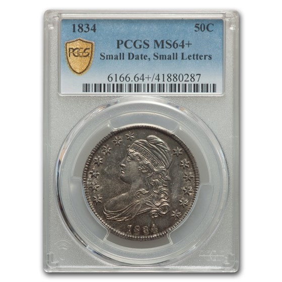 1834 Capped Bust Half Dollar MS-64+ PCGS (Sm Date/Sm Letters)