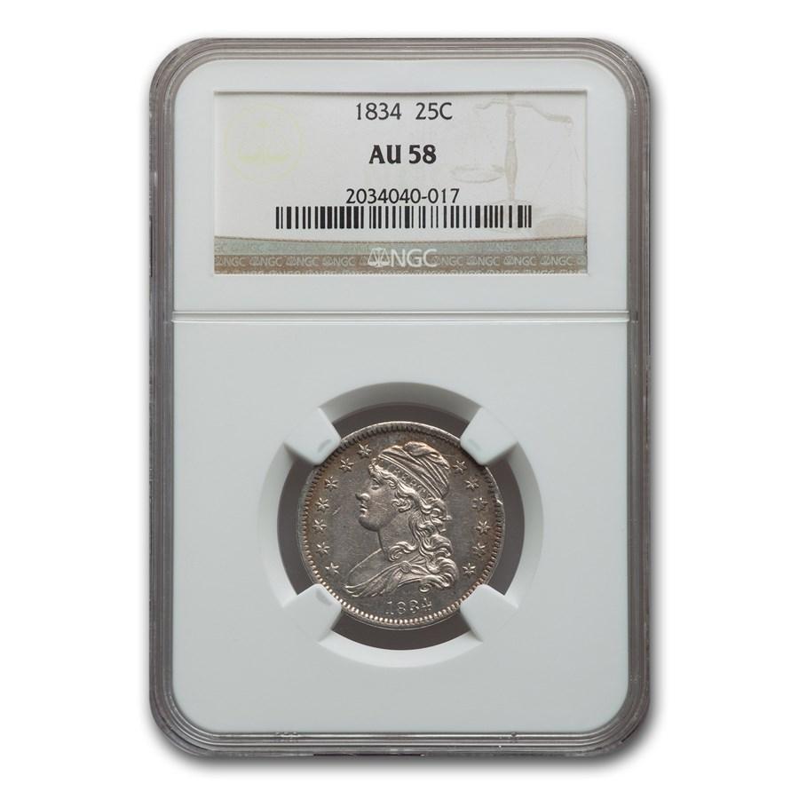 1834 Capped Bust Quarter AU-58 NGC