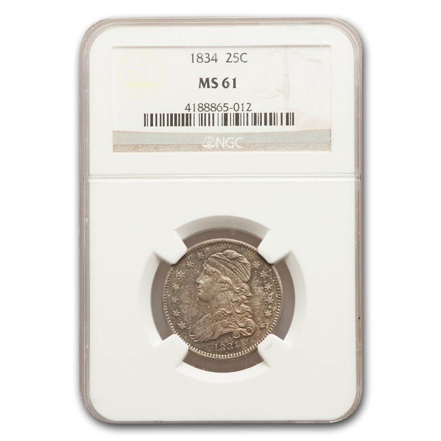 1834 Capped Bust Quarter MS-61 NGC