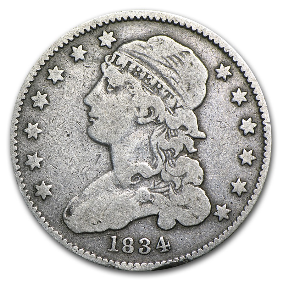 1834 Capped Bust Quarter VG (O over F)