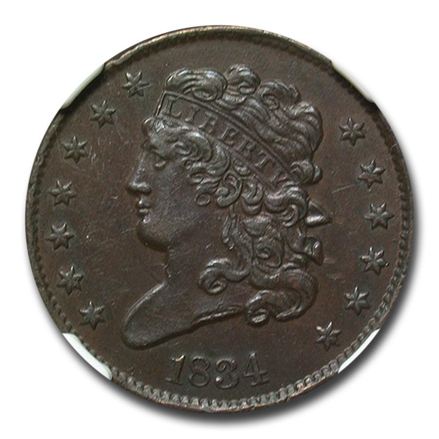 1834 Half Cent AU-55 NGC (Brown)