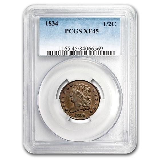 1834 Half Cent XF-45 PCGS