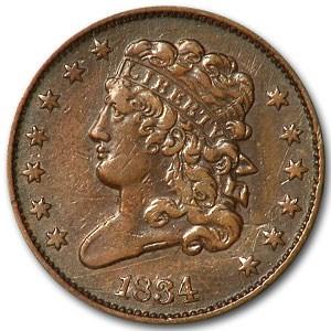1834 Half Cent XF Details (Scratched)