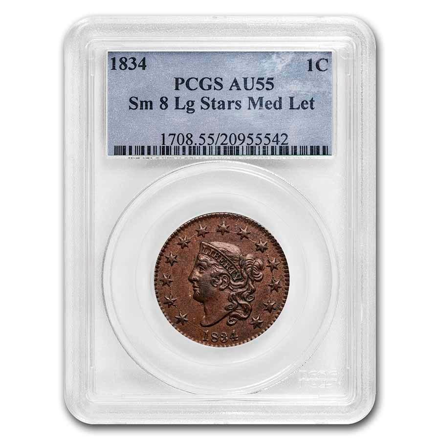 1834 Large Cent AU-55 PCGS (Sm 8, Lg Stars, Med Letters)