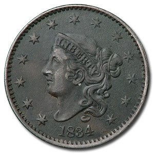 1834 Large Cent Lg Date, Sm Stars & Sm Letters XF