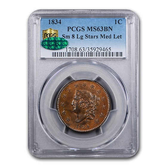 1834 Large Cent MS-63 PCGS CAC (BN, Sm 8, Lg Stars Med Letters)